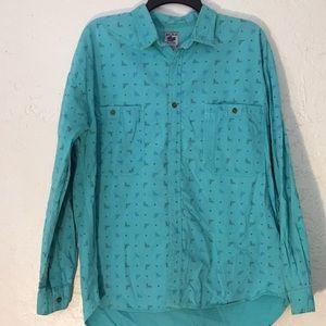 Vtg Anchor Blue Long Sleeve Button Up Shirt